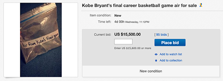 Someone Tried To Bag Of Air From Kobe S Last On Ebay Mandatory