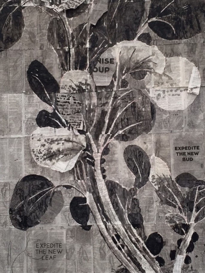 William Kentridge, Eat Bitterness (detail), 2014, India ink on found pages, 115 1/8 x 57 x 1/16 in.