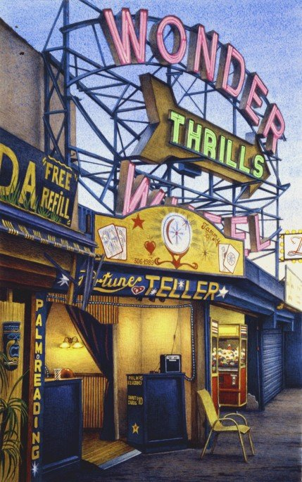 Frederick Brosen, Fortune Teller, Jones Walk, Coney Island, 2008, watercolor over graphite on paper, Courtesy of Hirschl & Adler Modern, New York. Photograph by Joshua Nefsky; Image courtesy of Hirschl & Adler Modern, New York; ©2016 Frederick Brosen/Artists Rights Society (ARS), New York