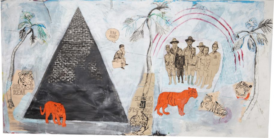 Peyton Freiman. Bro don't even get me started on Jekyll Island. I mean fuck man., 2015, Mixed Media on Paper on Canvas, 78 x 42 in. (198 x 107 cm.)