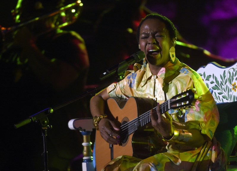 US singer Lauryn Hill performs on stage during the 51st session of the Carthage international Festival in the Roman theatre in Carthage, a seaside suburb of the Tunisian Capital on July 21, 2015. AFP PHOTO/FETHI BELAID (Photo credit should read FETHI BELAID/AFP/Getty Images)