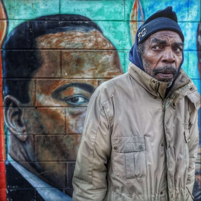 Ruddy Roye Facing the Darkness, Bedford-Stuyvesant, Brooklyn, NY, January 18, 2016 Archival pigment print on metallic paper, printed 2016 35 x 35 in Edition of 10; Signed by photographer verso