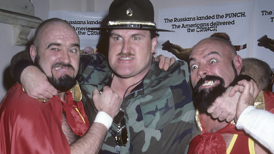 "NEW YORK CITY - MARCH 12: Wrestler Sgt. Slaughter wrestlers The Kremlin Krushers (Alexi Smirnoff and Jay S. York) attend the ""Bad Guys"" Premiere Party on March 12, 1986 at the Limelight in New York City. (Photo by Ron Galella, Ltd./WireImage)"