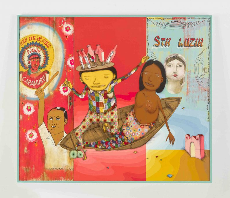 OSGEMEOS Um segredo do mar (Secret from the sea), 2015 mixed media with sequins on wood doors 84.375 x 98 x 2.75 inches (framed) 214.3 x 248.9 x 7 cm Courtesy the artists and Lehmann Maupin, New York and Hong Kong Photo: Max Yawney