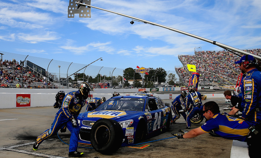 Chase Elliott, driver of the #24 NAPA Auto Parts Chevrolet, pits during the NASCAR Sprint Cup Series Goody's Fast Relief 500 at Martinsville Speedway on October 30, 2016 in Martinsville, Virginia. (Photo by Chris Trotman/NASCAR via Getty Images)
