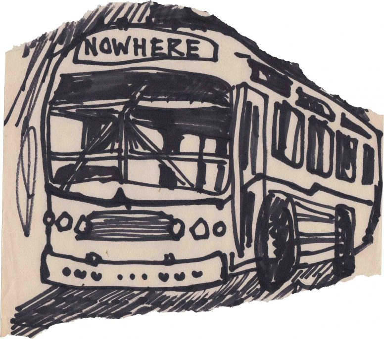 """Early 1977. Jamie Reid's sketch of """"Nowhere Bus"""" for an unpublished second issue of """"Anarchy in the U.K."""""""