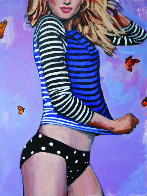 Sun, Surf, and Style: the Swim Tee, Ride the Wave, Acrylic on canvas 2014, Courtesy LYNCH THAM, New York City, and the artist