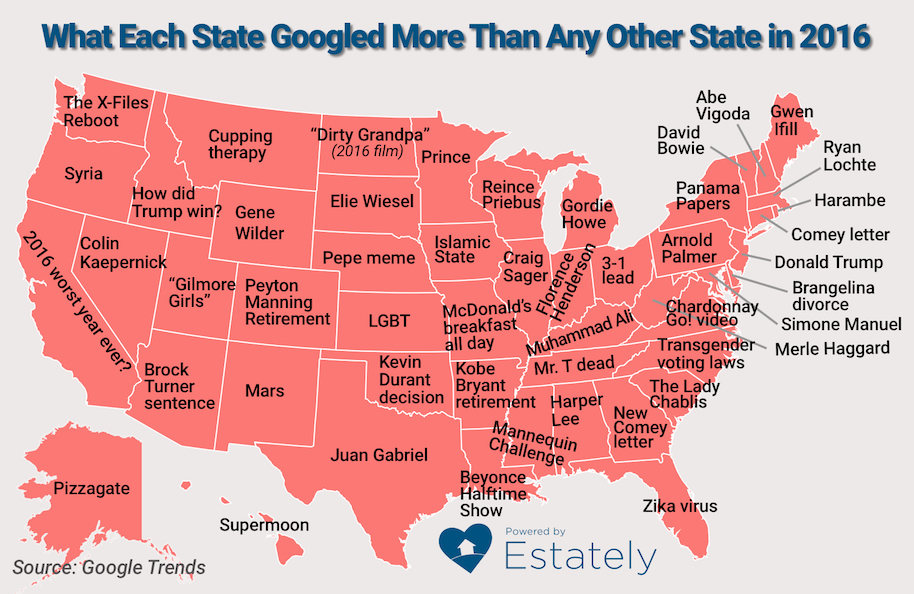 googled the most for each state