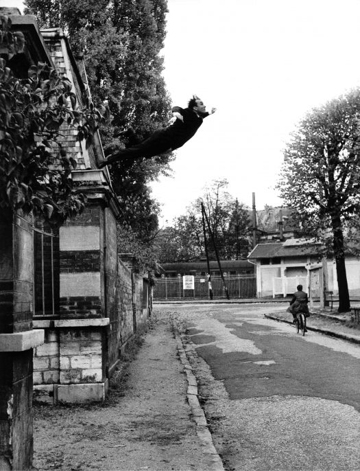 """Harry Shunk, 1924-2006 and János Kender, 1938–2009. Yves Klein's """"Leap Into the Void,"""" Fontenay-aux Roses, France, 1960 October 23 1960. Harry Shunk and Shunk-Kender photographs. Artistic action by Yves Klein © Yves Klein, ADAGP, Paris and DACS, London 2016. Collaboration Harry Shunk and János Kender © J. Paul Getty Trust. Getty Research Institute, Los Angeles (2014.R.20)"""