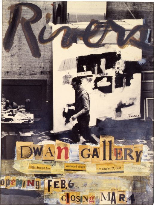Larry Rivers, Maquette for Larry Rivers Exhibition at Dwan Gallery, 1961 collage of cut-out text, paint, and tape on gelatin silver print mounted on paper board, mount (irregular): 35.7 31 cm (14 1/16 12 3/16 in.) Collection of Virginia Dwan