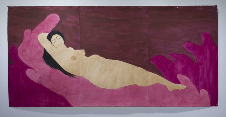 Hiba Schahbaz Self Portrait as Sleeping Venus (after Giorgione) , 2017 Tea, watercolour, ink and poster paint on Twinrocker 48 x 99 in