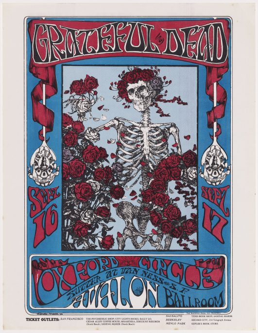 Grateful Dead, Oxford Circle (Avalon Ballroom, 16–17 September 1966). Stanley Miller (Mouse) (American, born in 1940). Alton Kelley (American, 1940–2008). After: Edmund J. Sullivan (English, 1869–1933), 1966. Poster, offset lithograph. Collection of Patrick Murphy. Courtesy, Museum of Fine Arts, Boston.