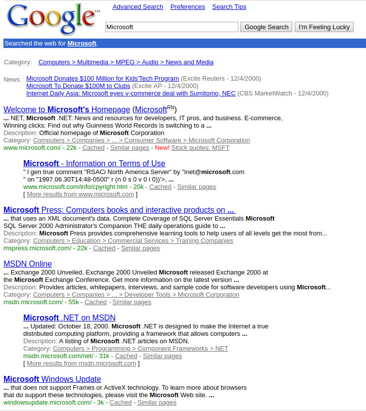 Google 1999 screenshot