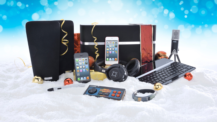 Holiday tech gifts in snow