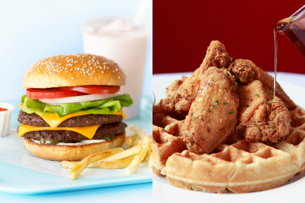 burger and fries chicken and waffles