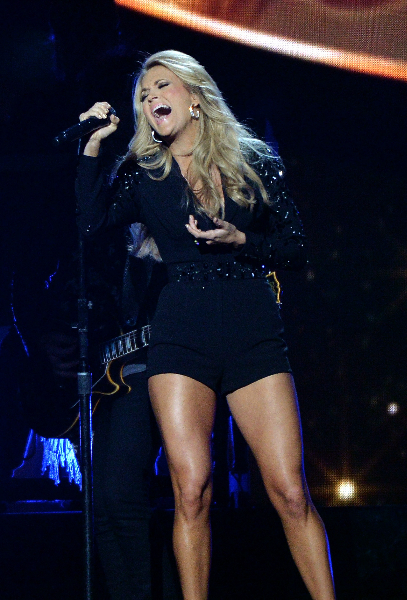 Carrie Underwood performs onstage during the 47th annual CMA Awards at the Bridgestone Arena