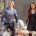 Aaron Taylor-Johnson and Elizabeth Olsen as Quicksilver and Scarlet Witch