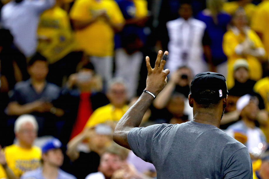 LeBron addresses the crowd