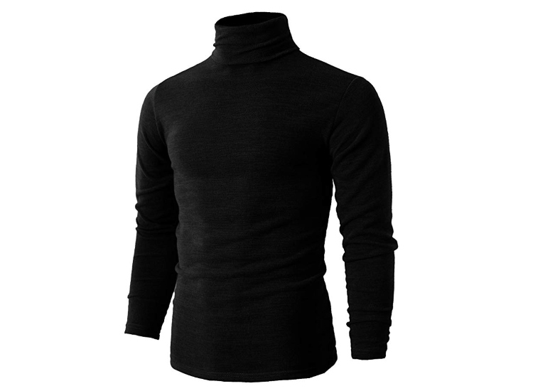 H2H Mens Casual Slim Fit Pullover Turtleneck