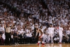 LeBron Reacts After A Clutch Shot Late In The Fourth Quarter.