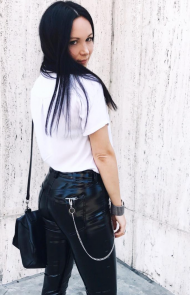 Wallet Chains On Top Of Leather Pants