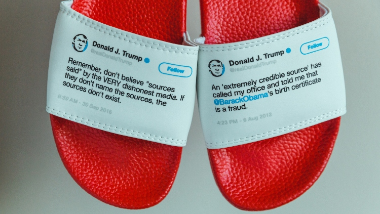 Close Up of Sources Edition of Presidential Flip Flops by Sam Morrison
