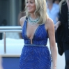 Sharon Stone at Roberto Cavalli's yacht in a blue dress during the 66th Cannes Film Festival. Where: Cannes, France When: 21 May 2013 Credit: WENN.com