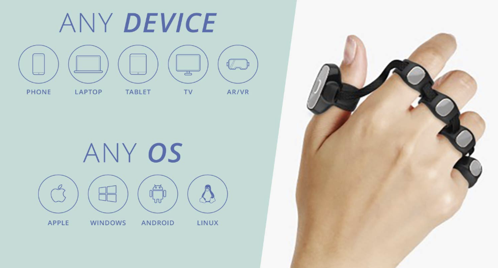 Tap Strap Bluetooth Enabled Wearable Keyboard & Mouse